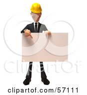 3d Contractor Man Character Holding A Blank Sign - Version 2