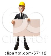 3d Contractor Man Character Holding A Blank Sign - Version 1