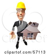 3d Contractor Man Character Holding A Chrome House - Version 4