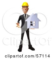 3d Contractor Man Character Holding A Chrome House - Version 5