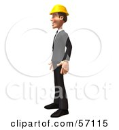 Royalty Free RF Clipart Illustration Of A 3d Contractor Man Character Standing And Facing Left by Julos