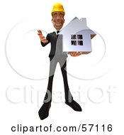 3d Contractor Man Character Holding A Chrome House - Version 3
