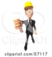 Royalty Free RF Clipart Illustration Of A 3d Contractor Man Character Giving The Thumbs Down Version 2 by Julos