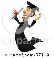 Royalty Free RF Clipart Illustration Of A 3d Male Grad Student Character Jumping With A Rolled Diploma Version 2