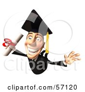 Royalty Free RF Clipart Illustration Of A 3d Male Grad Student Character Flying With A Rolled Diploma Version 1