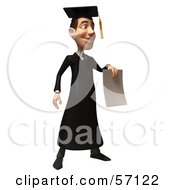 Royalty Free RF Clipart Illustration Of A 3d Male Grad Student Character Holding A Blank Diploma Version 2