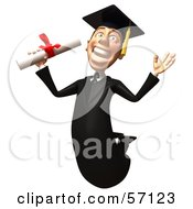 Royalty Free RF Clipart Illustration Of A 3d Male Grad Student Character Jumping With A Rolled Diploma Version 1