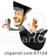 Royalty Free RF Clipart Illustration Of A 3d Male Grad Student Character Flying With A Rolled Diploma Version 2
