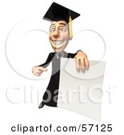 Royalty Free RF Clipart Illustration Of A 3d Male Grad Student Character Holding A Blank Diploma Version 4