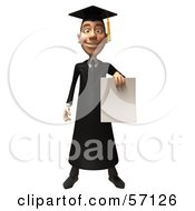 Royalty Free RF Clipart Illustration Of A 3d Male Grad Student Character Holding A Blank Diploma Version 1