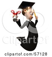 Royalty Free RF Clipart Illustration Of A 3d Male Grad Student Character Jumping With A Rolled Diploma Version 3