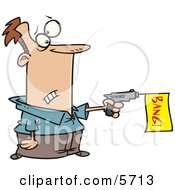 Man Shooting A Dud Gun With A Bang Flag Clipart Illustration