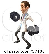 Royalty Free RF Clipart Illustration Of A 3d White Male Doctor Character Lifting Dumbbells Version 2 by Julos