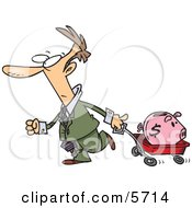 Man Pulling A Piggy Bank In A Wagon Clipart Illustration