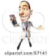 Royalty Free RF Clipart Illustration Of A 3d White Male Doctor Character Holding A Cell Phone Version 3 by Julos