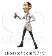 Royalty Free RF Clipart Illustration Of A 3d White Male Doctor Character Holding A Cell Phone Version 5 by Julos
