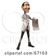 Royalty Free RF Clipart Illustration Of A 3d White Male Doctor Character Holding Up A Blank Form Version 2
