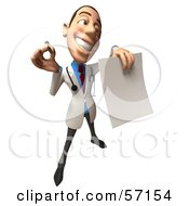 Royalty Free RF Clipart Illustration Of A 3d White Male Doctor Character Holding Up A Blank Form Version 5