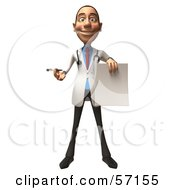 Royalty Free RF Clipart Illustration Of A 3d White Male Doctor Character Holding Up A Blank Form Version 1
