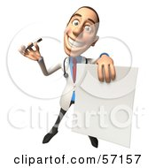 Royalty Free RF Clipart Illustration Of A 3d White Male Doctor Character Holding Up A Blank Form Version 3 by Julos