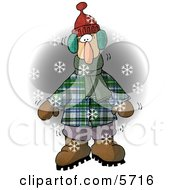 Cold Man Standing Outside While Its Snowing Clipart Illustration by djart