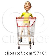 Royalty Free RF Clipart Illustration Of A 3d Casual White Man Character Pushing A Shopping Cart Version 3 by Julos