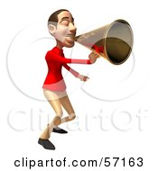 Royalty Free RF Clipart Illustration Of A 3d Casual White Man Character Using A Megaphone Version 4 by Julos