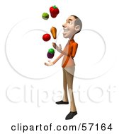 Royalty Free RF Clipart Illustration Of A 3d Casual White Man Character Juggling Veggies Version 2 by Julos