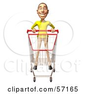 Royalty Free RF Clipart Illustration Of A 3d Casual White Man Character Pushing A Shopping Cart Version 4 by Julos