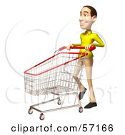 Royalty Free RF Clipart Illustration Of A 3d Casual White Man Character Pushing A Shopping Cart Version 2 by Julos