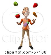 Royalty Free RF Clipart Illustration Of A 3d Casual White Man Character Juggling Veggies Version 1 by Julos