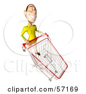 Royalty Free RF Clipart Illustration Of A 3d Casual White Man Character Pushing A Shopping Cart Version 5 by Julos