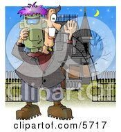 Smiling Man Holding A Halloween Frankenstein Mask In Front Of A Haunted House Clipart Illustration by Dennis Cox