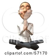 Royalty Free RF Clipart Illustration Of A 3d Casual White Man Character Meditating Version 3 by Julos