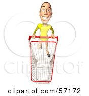 Royalty Free RF Clipart Illustration Of A 3d Casual White Man Character Pushing A Shopping Cart Version 6 by Julos