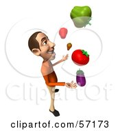 Royalty Free RF Clipart Illustration Of A 3d Casual White Man Character Juggling Veggies Version 4 by Julos
