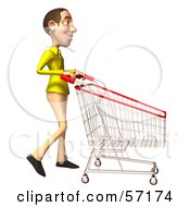 Royalty Free RF Clipart Illustration Of A 3d Casual White Man Character Pushing A Shopping Cart Version 1 by Julos