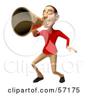 Royalty Free RF Clipart Illustration Of A 3d Casual White Man Character Using A Megaphone Version 3 by Julos