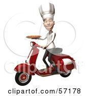 Royalty Free RF Clipart Illustration Of A 3d White Chef Man Character Delivering A Pizza On A Scooter by Julos