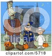Halloween Frankenstein Detective And Doctor Standing In Front Of A Spooky House by djart