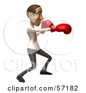 Royalty Free RF Clipart Illustration Of A 3d Casual White Man Character Boxing Version 3 by Julos