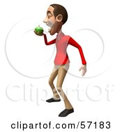 Royalty Free RF Clipart Illustration Of A 3d Casual White Man Character Eating A Green Apple Version 2