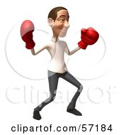 Royalty Free RF Clipart Illustration Of A 3d Casual White Man Character Boxing Version 4 by Julos