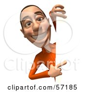Royalty Free RF Clipart Illustration Of A 3d Casual White Man Character Looking Around A Blank Sign Version 3 by Julos