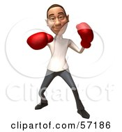 Royalty Free RF Clipart Illustration Of A 3d Casual White Man Character Boxing Version 5 by Julos