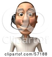 Royalty Free RF Clipart Illustration Of A 3d Casual White Man Character Wearing A Headset Version 2 by Julos