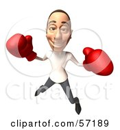Royalty Free RF Clipart Illustration Of A 3d Casual White Man Character Boxing Version 1 by Julos