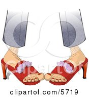 Hairy Woman Wearing Red High Heeled Shoes Clipart Illustration by djart