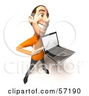 Royalty Free RF Clipart Illustration Of A 3d Casual White Man Character Holding A Laptop Version 4 by Julos
