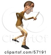 Royalty Free RF Clipart Illustration Of A 3d Casual White Man Character Using A Magnifying Glass Version 2 by Julos